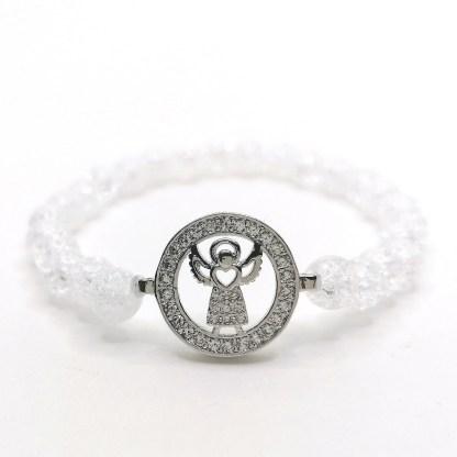 Náramek křišťál praskaný 6 mm s andělem v kruhu