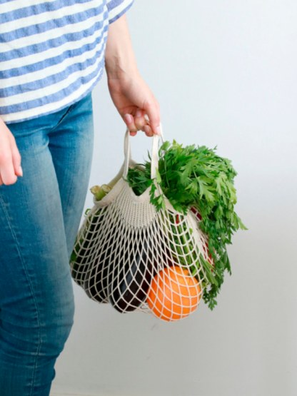 filet à provision en coton bio, fabriqué en France par FILT pour faire les courses et aller sur le marché en mode zéro déchet