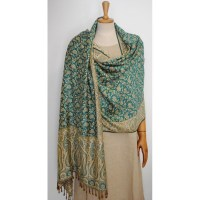 Green & Gold Shawl - Viscose Pashmina - Rednerium