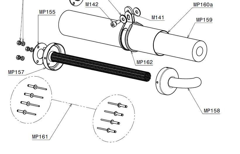 Internal silencer structure 350 mm (MP157)