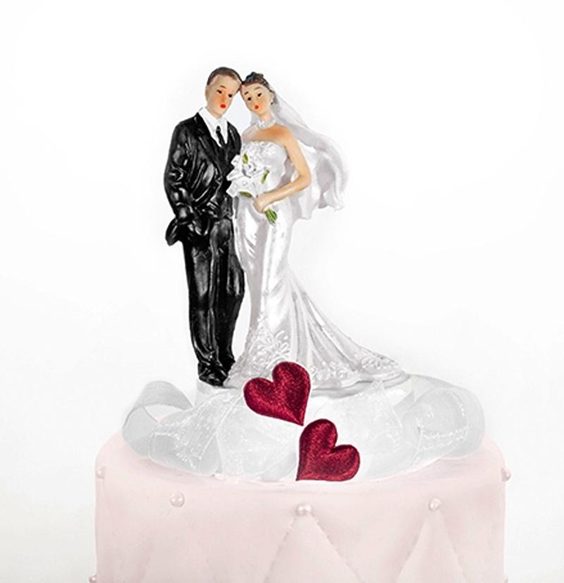 Tortenfigur Hochzeit Brautpaar mit Herz Tortenaufsatz