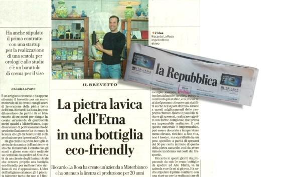 La bottiglia in pietra lavica dell'Etna - articolo La Repubblica 24 Novembre 2020 - Terra D'Arte