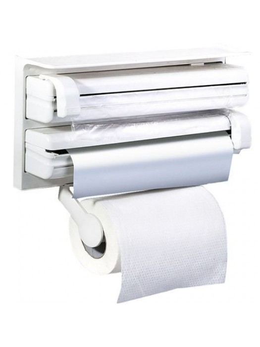 3 in 1 kitchen cabinets reviews roll holder cling film towel foil dispenser wall mounted