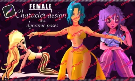 Female character design with dynamic poses