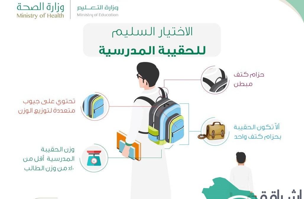 """""""وزارة الصحة السعودية"""" تطرح أهم المواصفات في الإختيار الصحي والصحيح للحقيبة المدرسية"""
