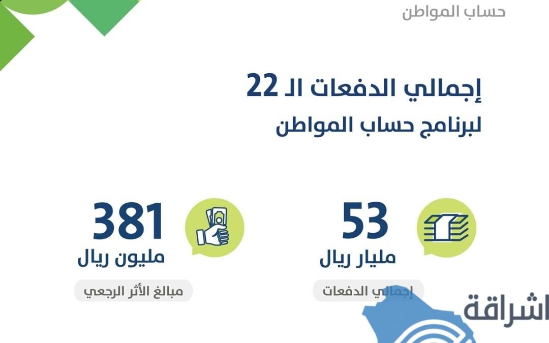 53 مليار ريال إجمالي المدفوعات لمستفيدي حساب المواطن