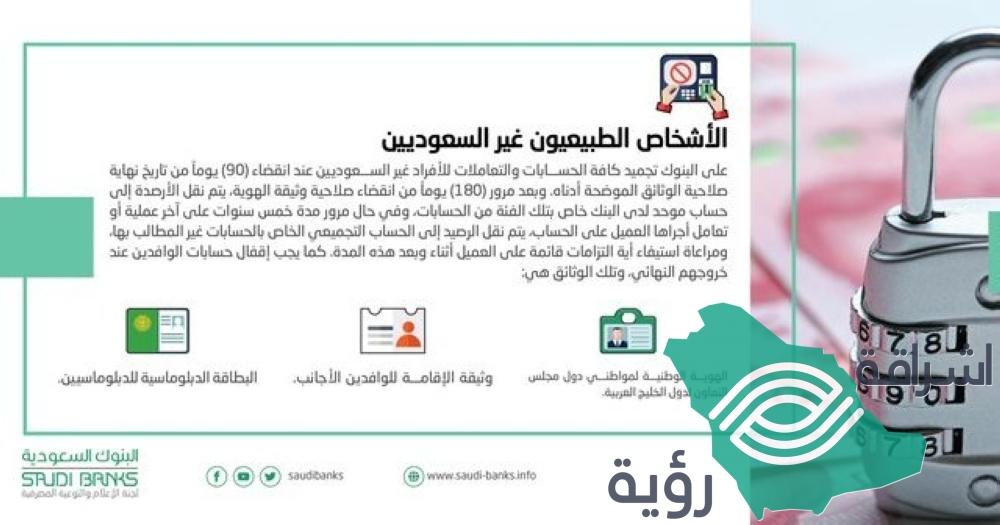 """""""البنوك السعودية"""": تجميد حسابات """"غير السعوديين"""" بانقضاء صلاحية الوثائق"""