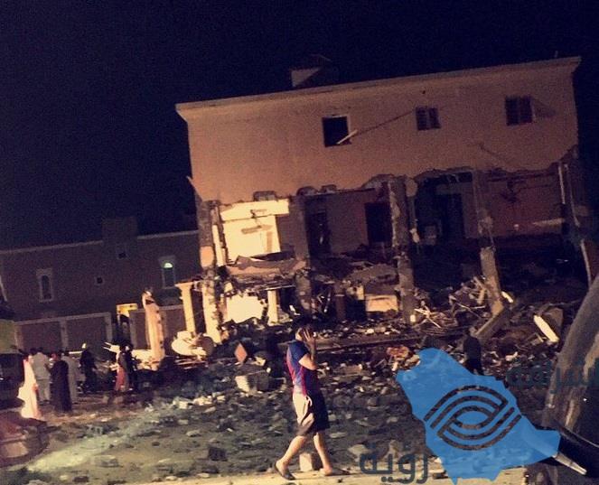 فيديو وصور.. انفجار في منزل بالدمام يسفر عن إصابات وانهيار واجهته وتضرر مركبات