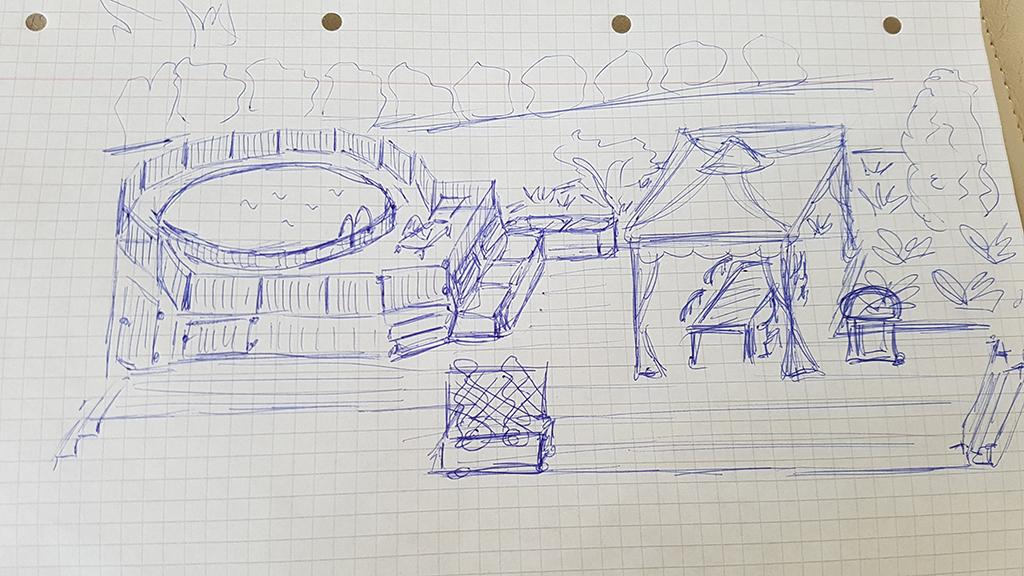 Skitsetegning af pool projekt