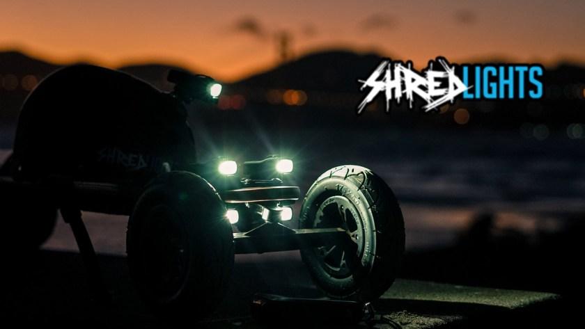 ShredLights on electric skateboard at dawn