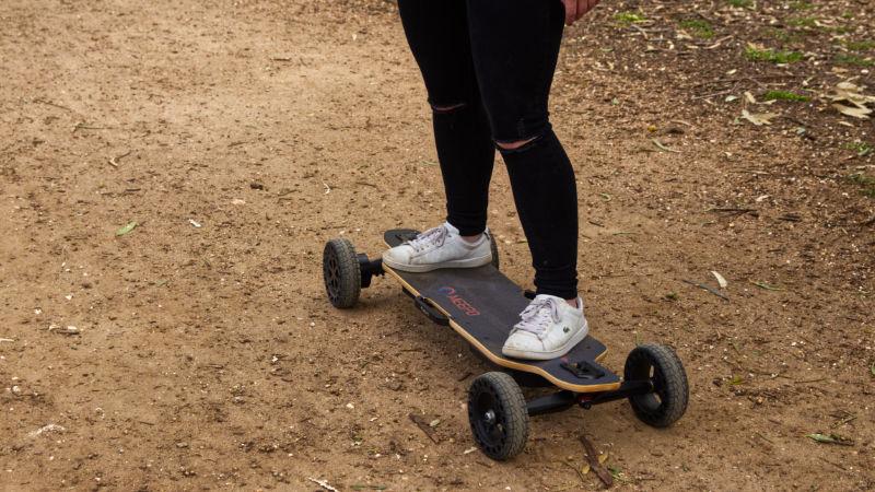 riding all terrain electric skateboard