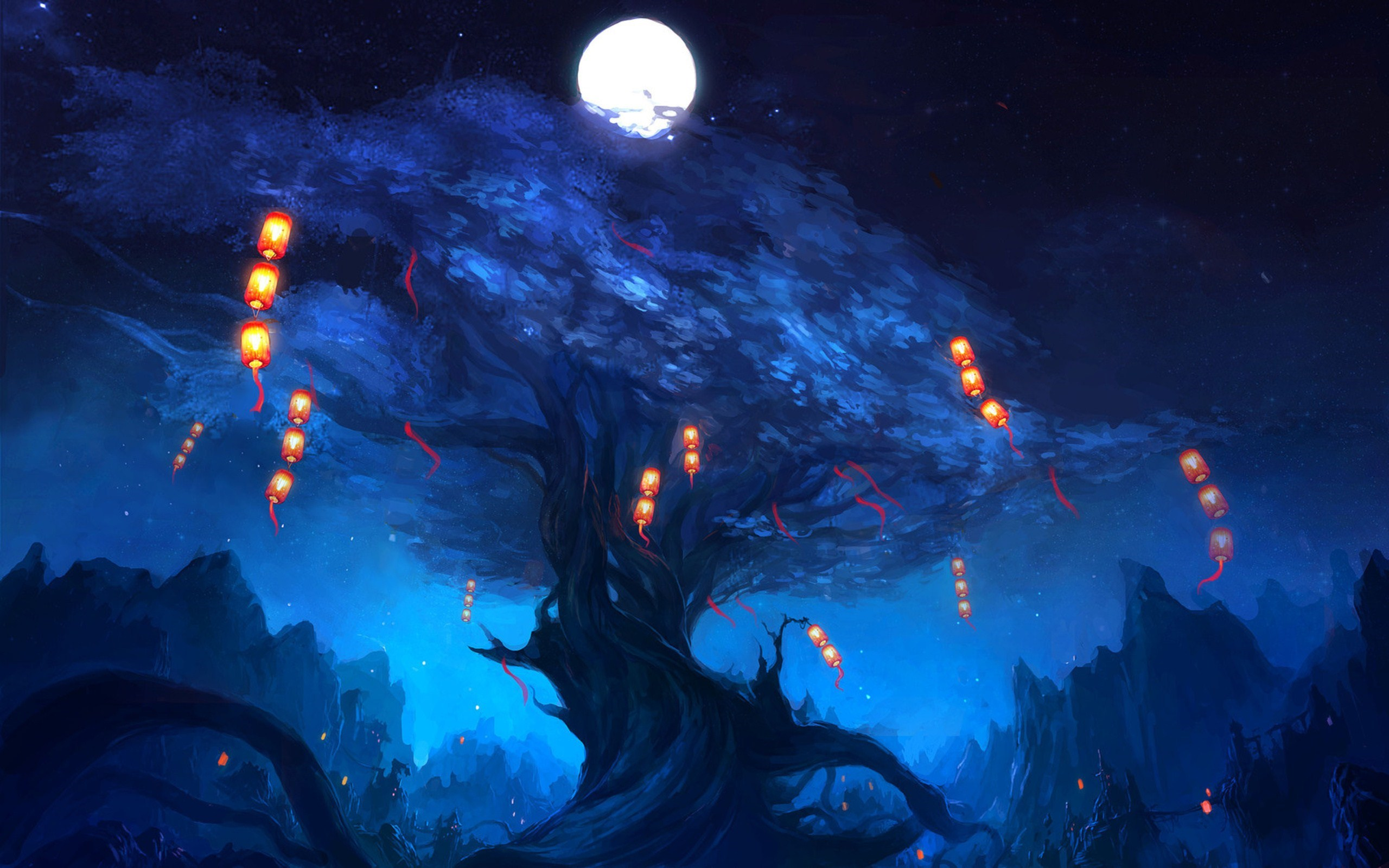 art tree lanterns moon night wallpaper | 2560x1600 | #8995