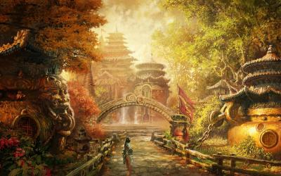 fantasy asian wallpapers chinese ancient background china desktop landscape temple palace concept soul golden artwork castle paintings environment blade fall