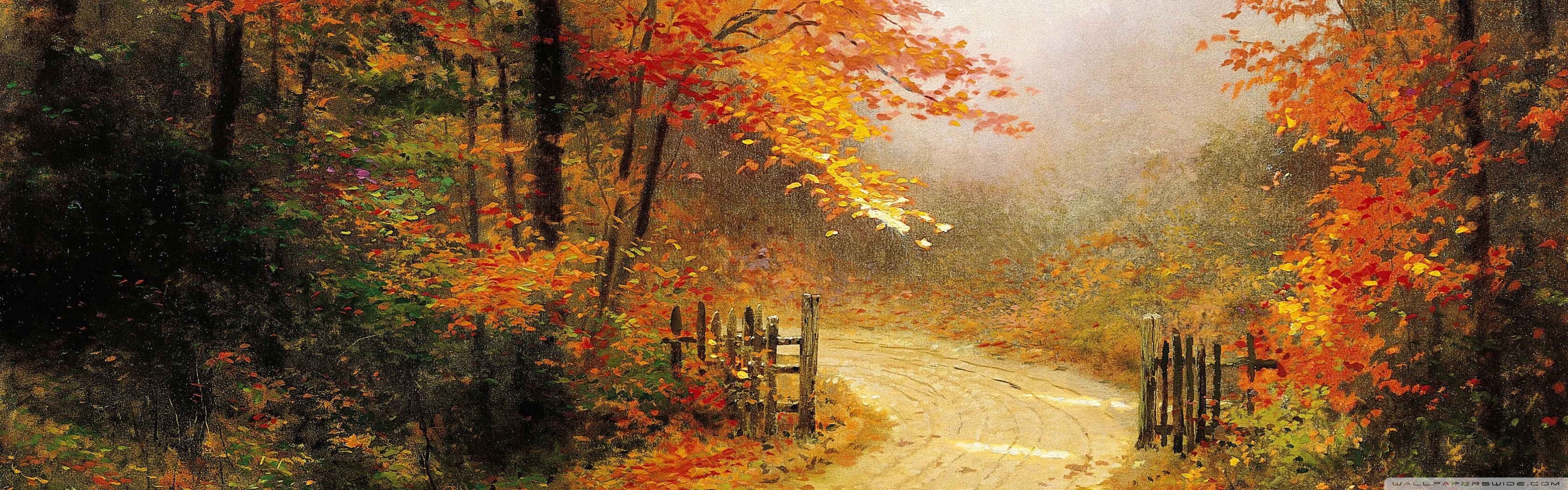 Thomas Kinkade Fall Desktop Wallpaper Autumn Lane Wallpaper 3360x1050 29008
