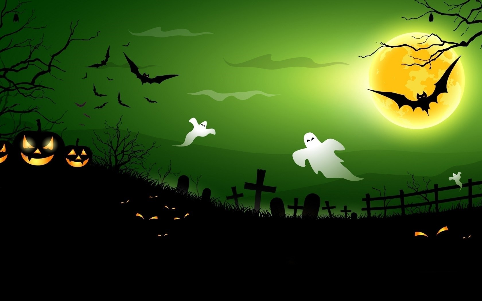 halloween creepy pumpkins bats full moon midnight ghosts wallpaper