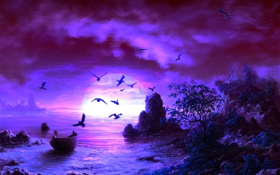purple fantasy backgrounds background moon night beach cool sky desktop wallpapers pink landscape amazing paintings sunset hd painting ocean nights