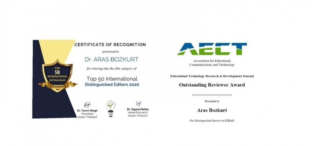 Doç. Dr. Aras Bozkurt, GOGN Fred Mulder en iyi makale ödülünü aldı