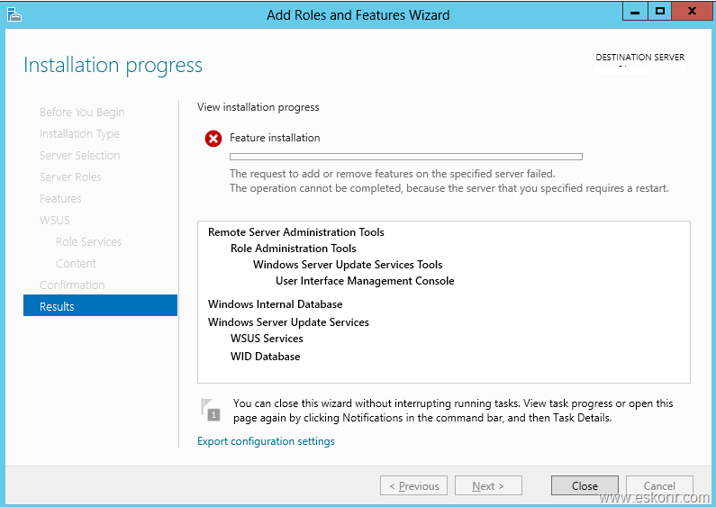 WSUS Role failed on Windows server 2012 with error