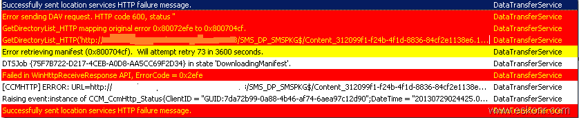 SCCM Configmgr 2012 Clients failed to download Content using Custom