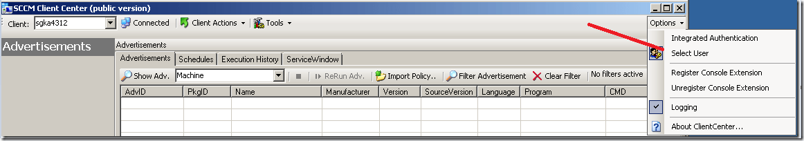 Run as sccm client center tool (Switch Authentication