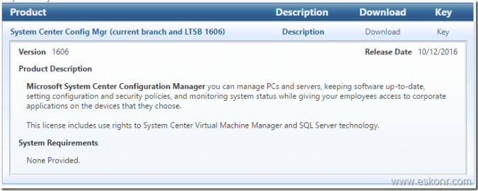 SCCM Configmgr comes with 3 branches of 1606 (Current Branch, LTSB