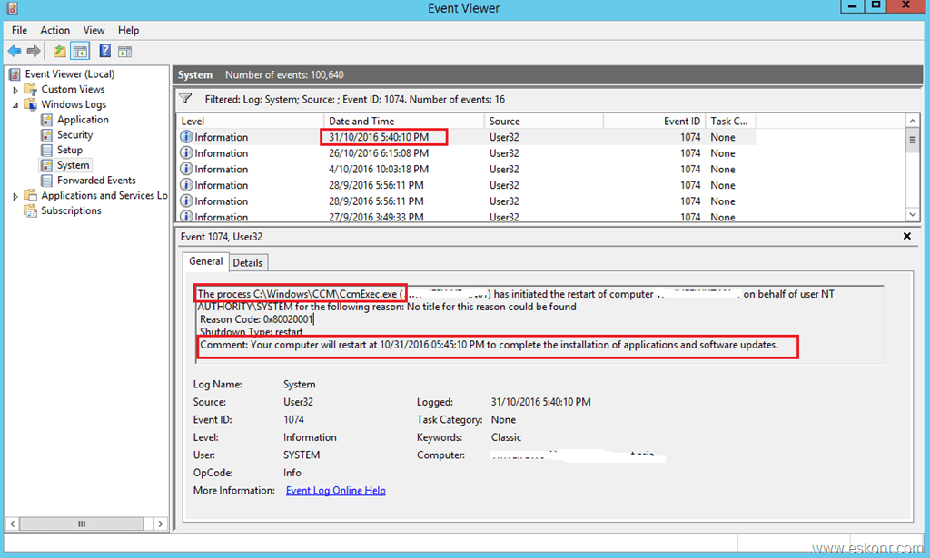 How to find who initiated restart of SCCM Configmgr Client