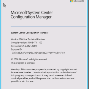 SCCM Configmgr Technical Preview update 1701 available
