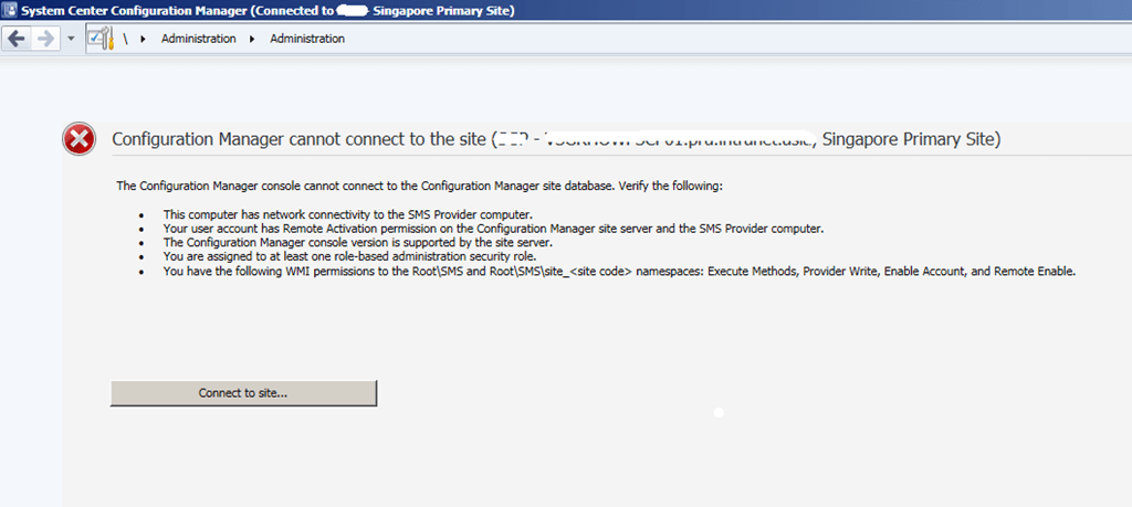 SCCM Current Branch Remote Console connectivity issues Insufficient