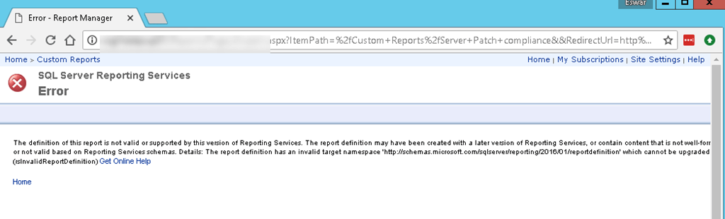 Configmgr SSRS failed to upload RDL with error code :definition of