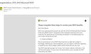 Microsoft MVP Award for 2018-2019 (2nd Time)