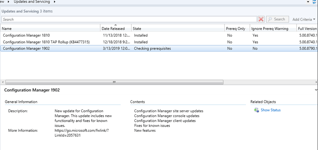 SCCM ConfigMgr Current Branch 1902 is now available as in