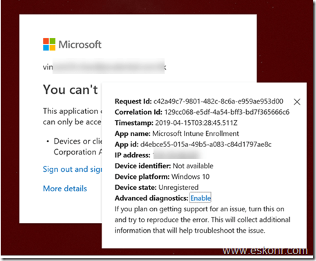 Intune device enrollment the sync could not be initiated