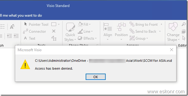 WIP policy for intune enrolled devices cannot run Visio project