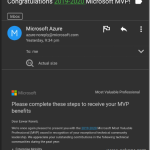 Microsoft MVP Award for 2019-2020 (3rd Time)