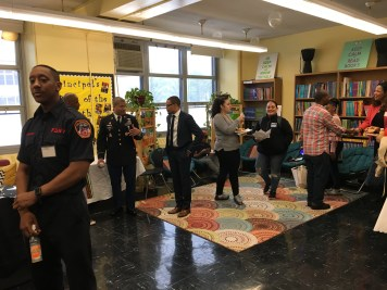 The various professionals had a meet-and-greet breakfast before kicking off Career Day.