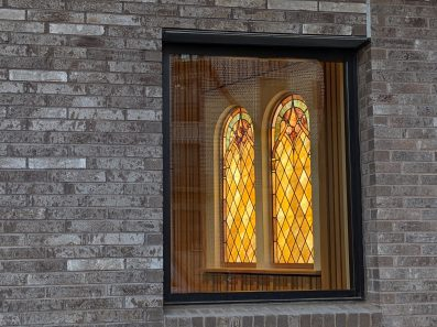 Salvaged and Restored Stained Glass at the Baptist Church of the Redeember