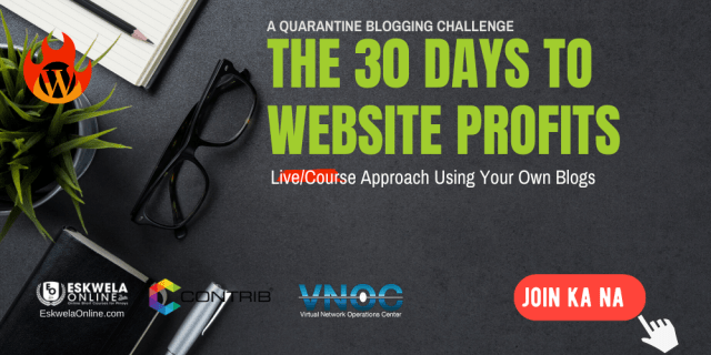 THE 30 DAYS TO WEBSITE PROFITS QUARANTINE BLOGGING CHALLENGE