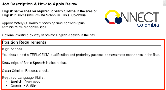 teach in colombia requirements