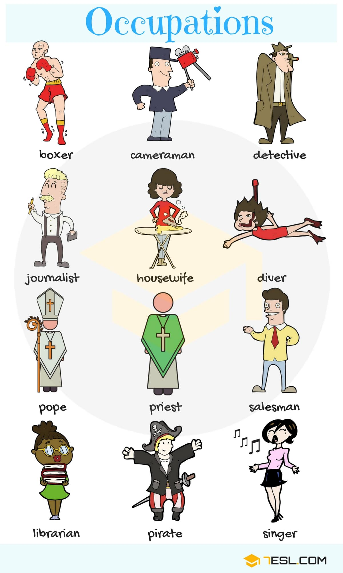 Learn Jobs And Occupations Vocabulary Through Pictures  Eslbuzz Learning English