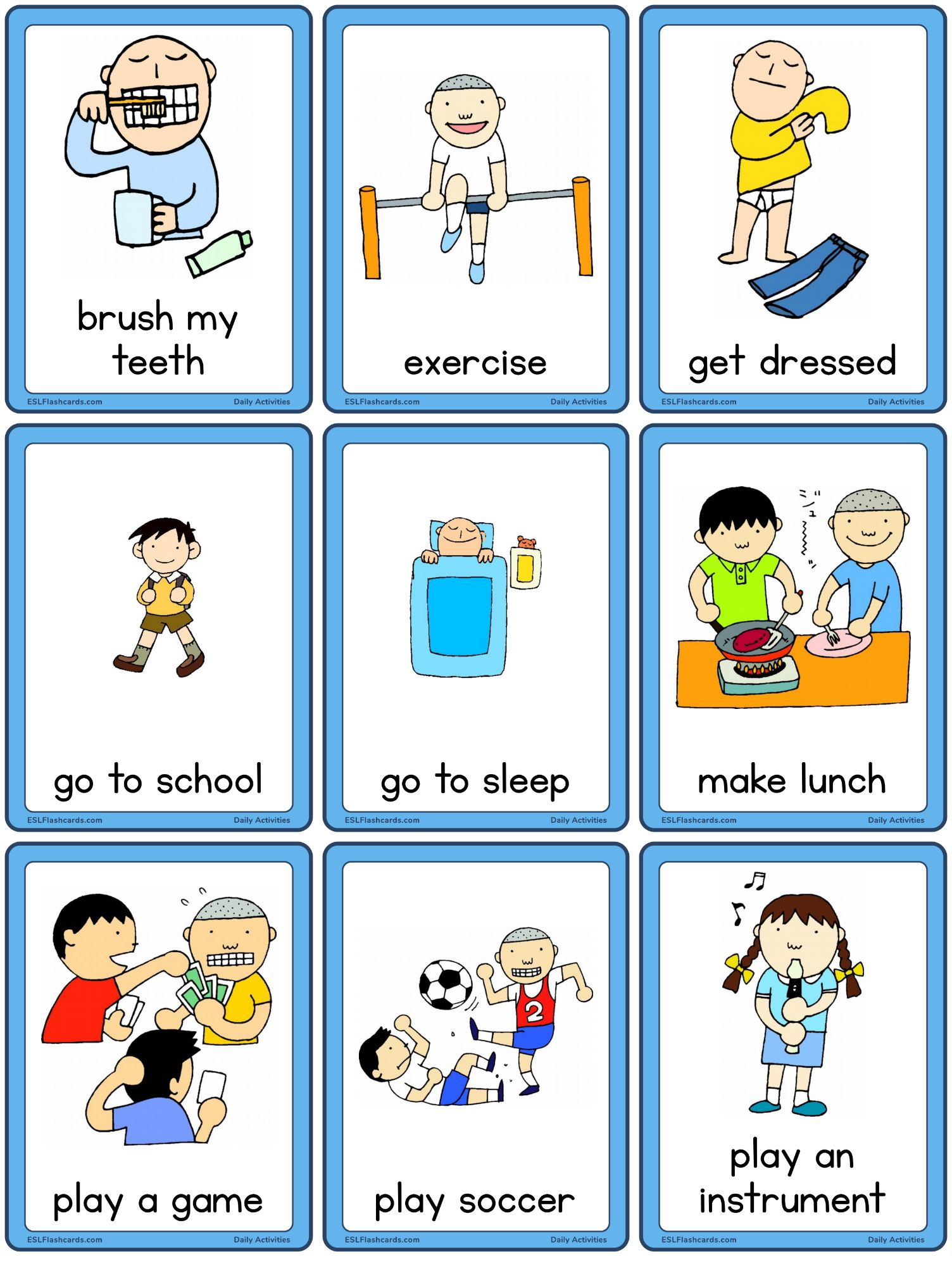 Daily Activities Set 1 Esl Flashcards