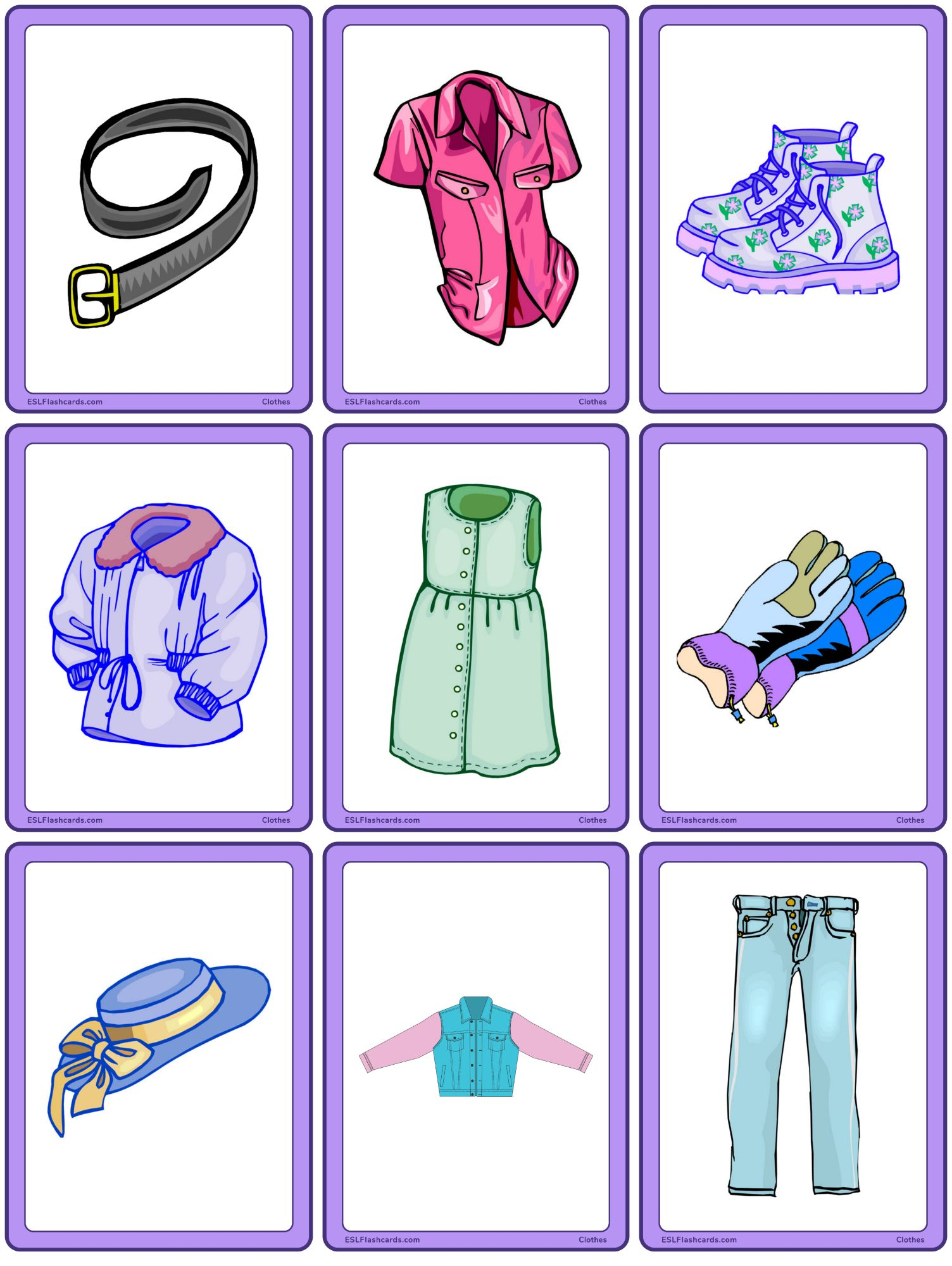 hight resolution of Clothes – ESL Flashcards