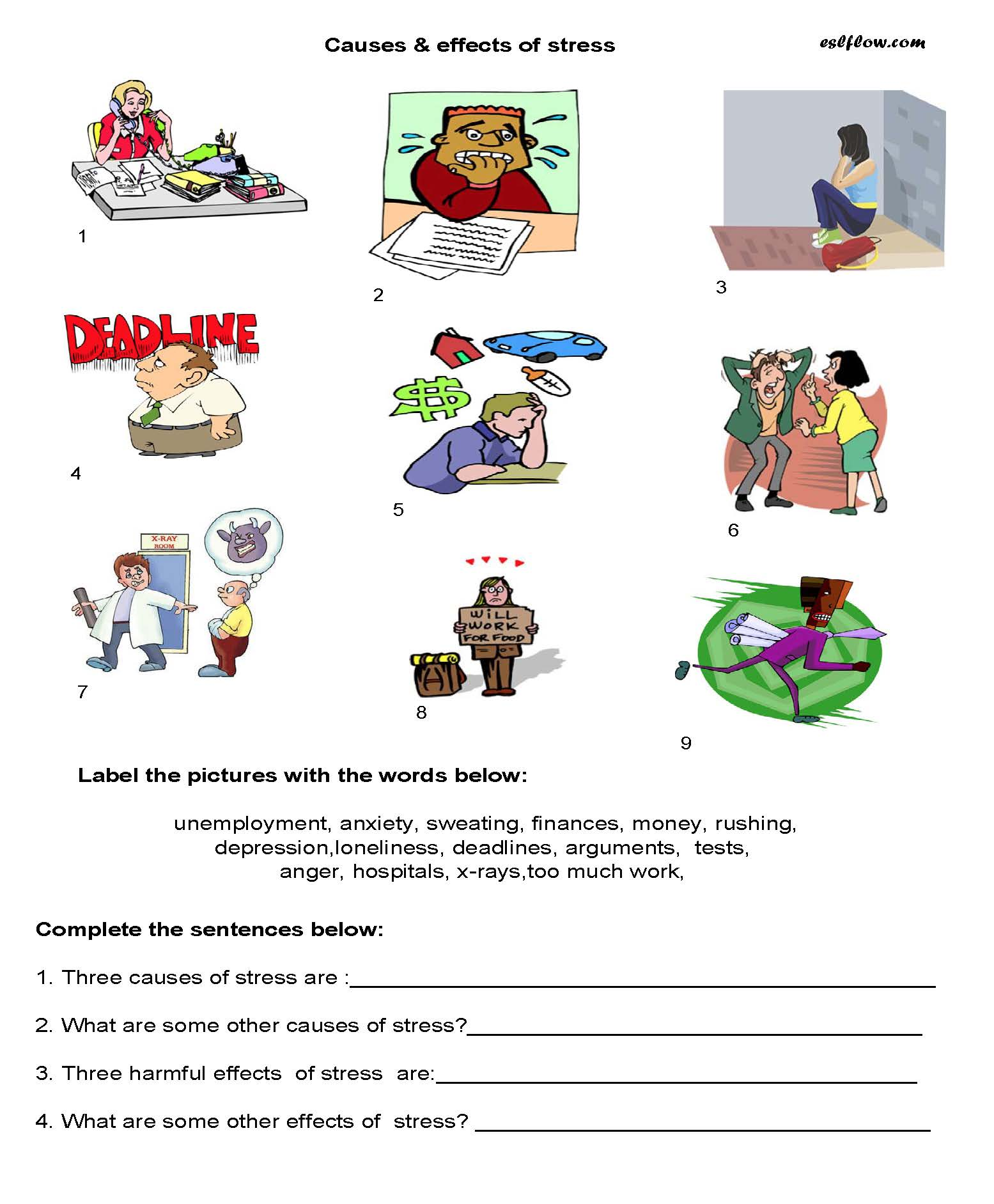 Elementary Causes Effects Of Stress Worksheet For Esl