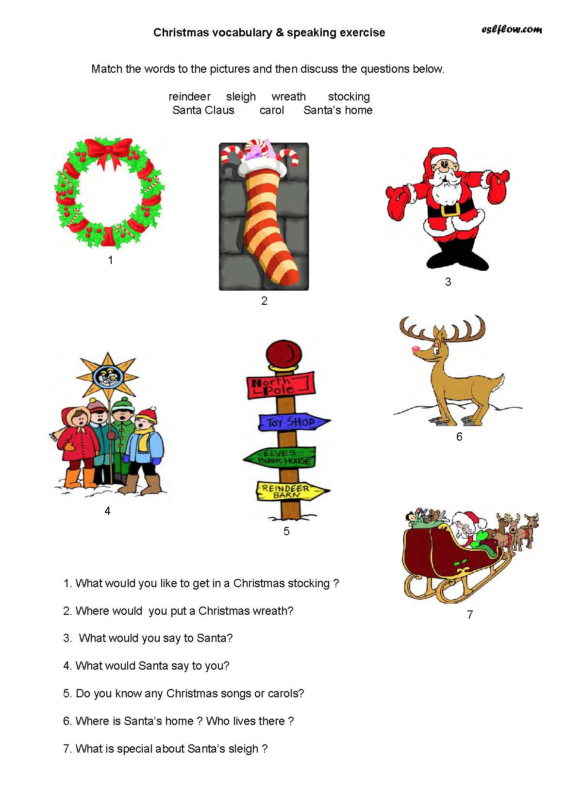 Christmas Vocabulary Speaking Exercise