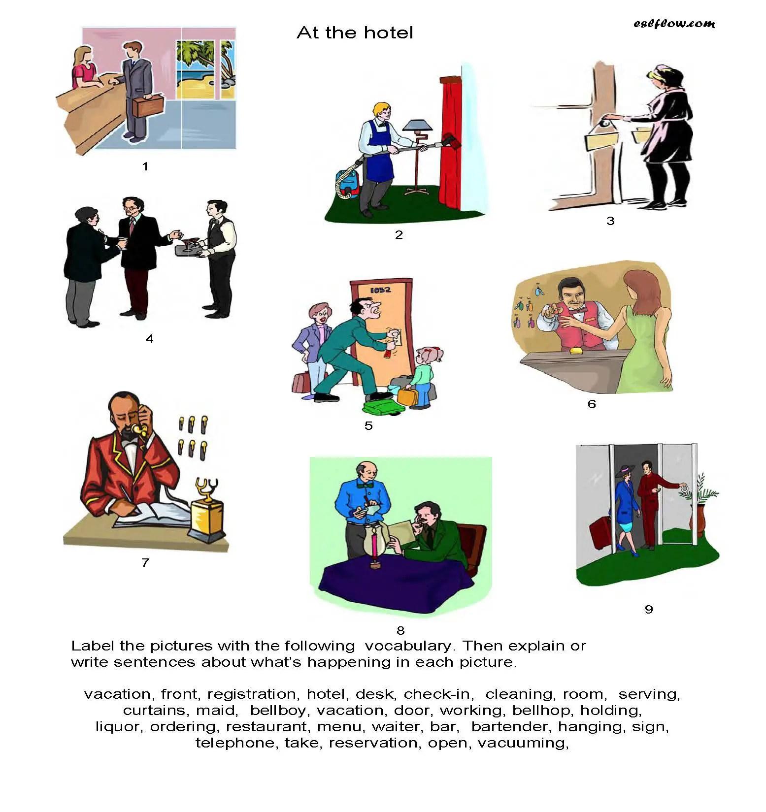 English Worksheet Hotel Vocabulary