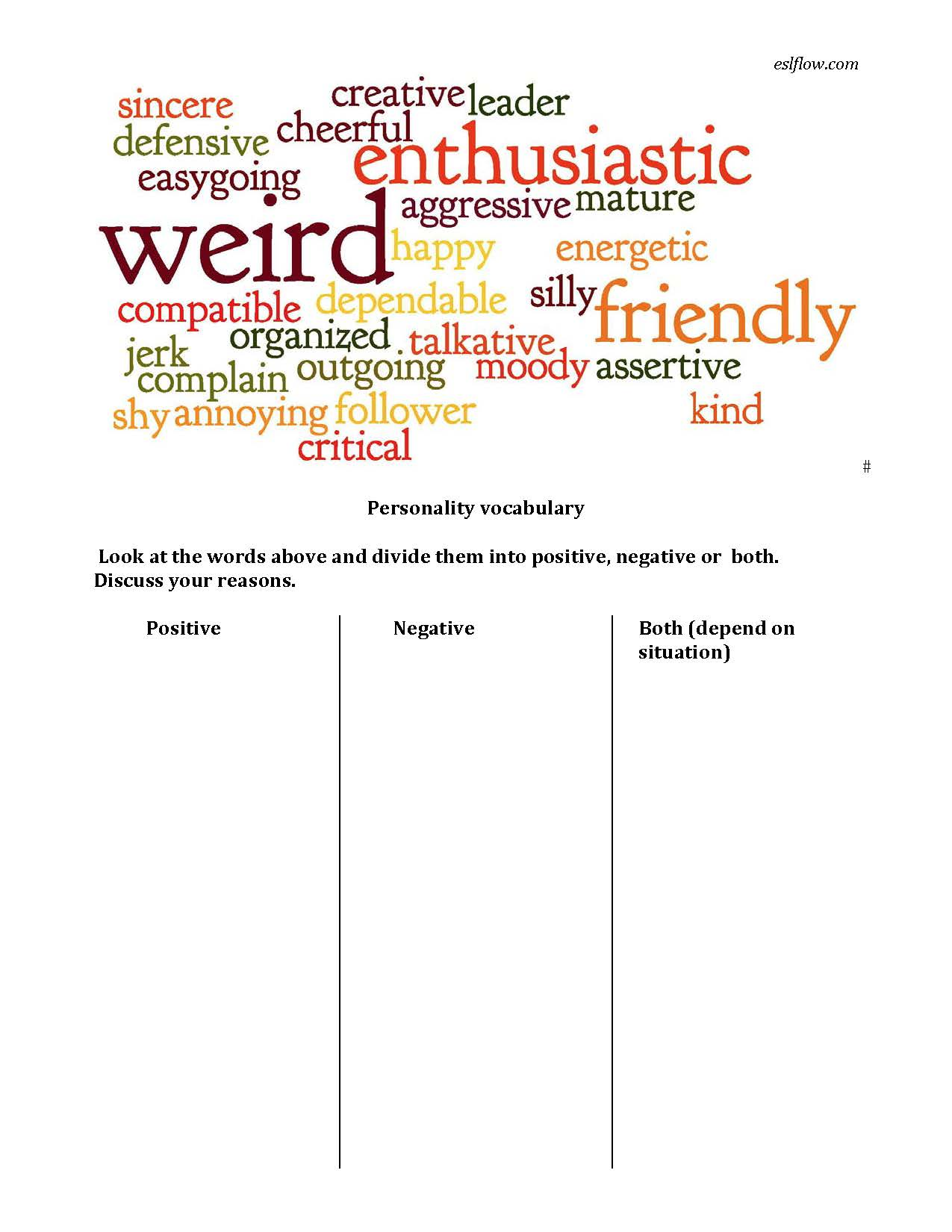 Personality Adjective Vocabulary Worksheet