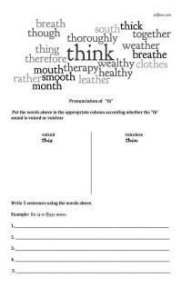 "AN ESL pronunciation worksheet for ""th"" sound pronunciation."