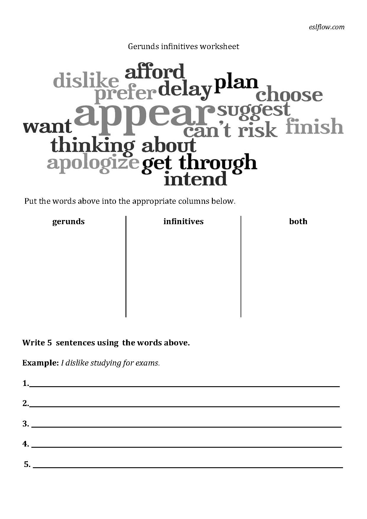 Gerund Worksheet Finding