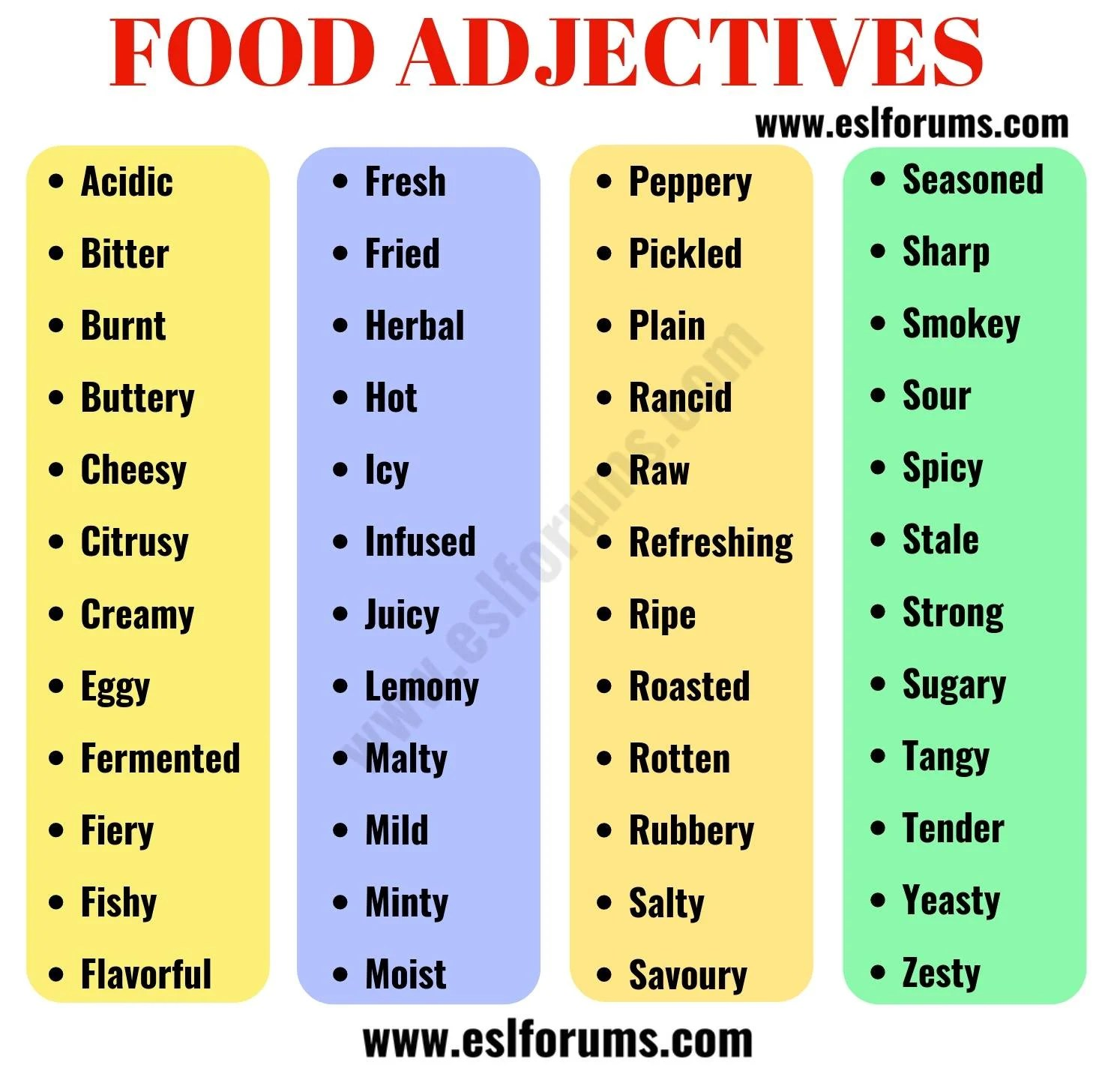 Food Adjectives 48 Useful Words To Describe Food In