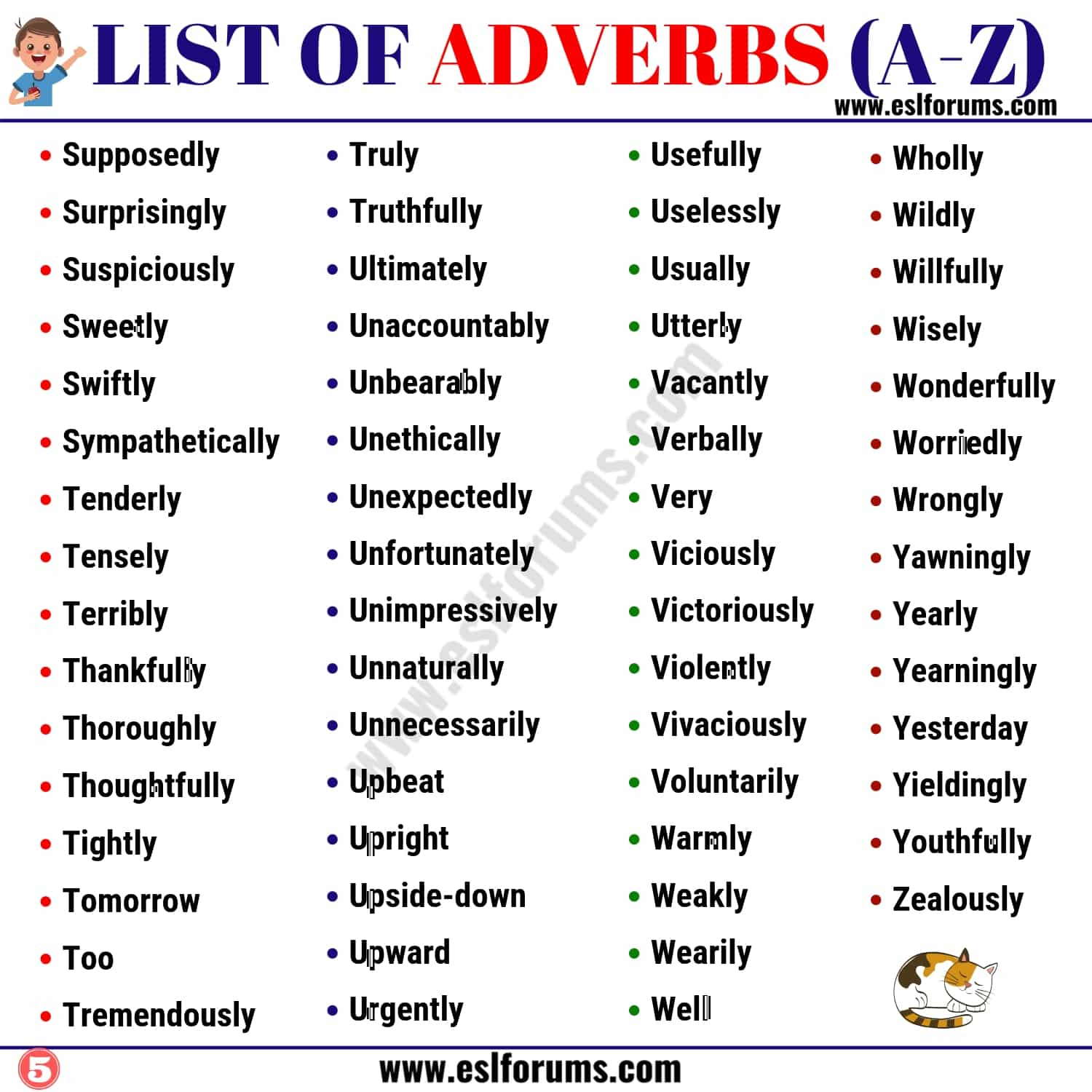 List Of Adverbs 300 Adverb Examples From A Z In English