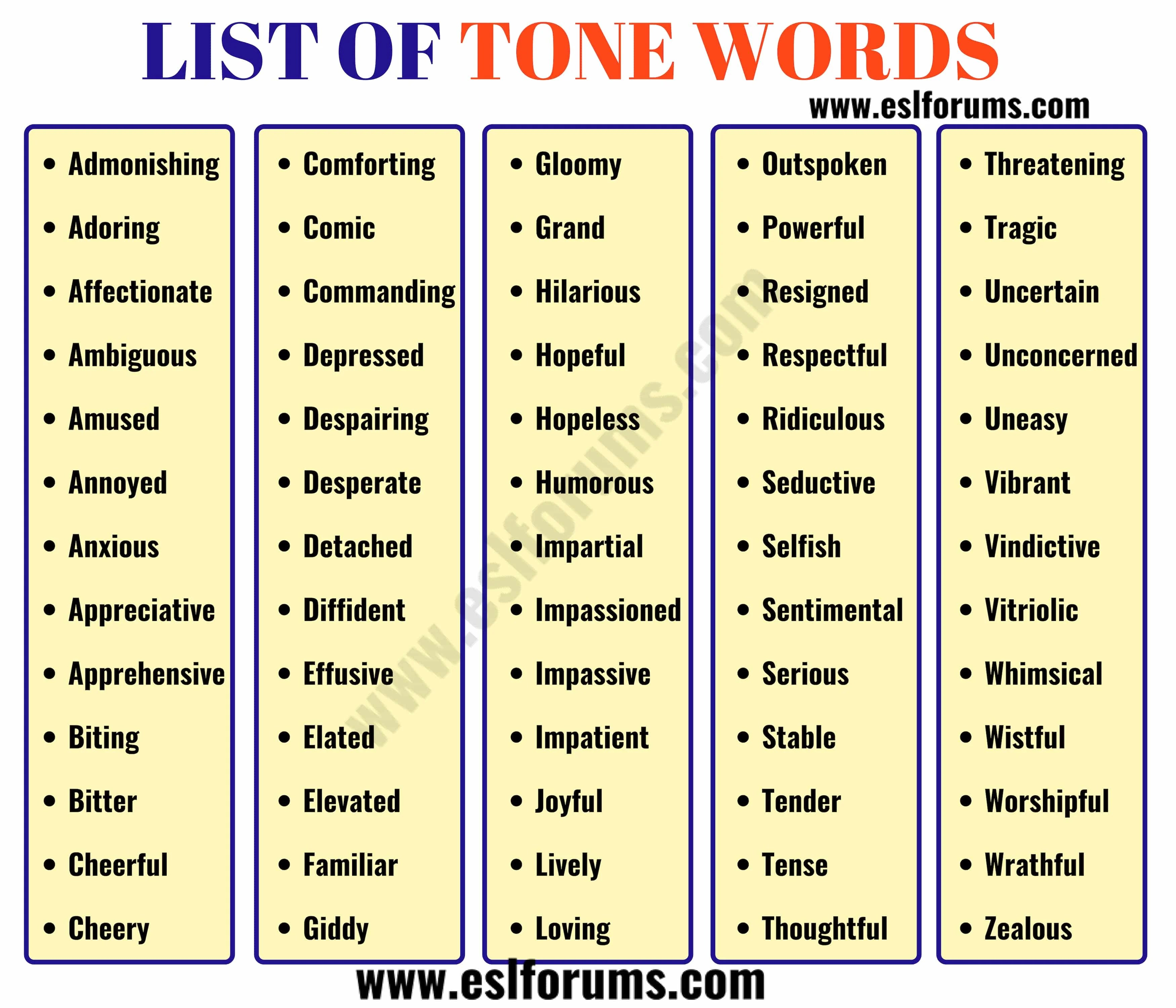 Tone Words List Of 300 Useful Words To Describe Tone Of